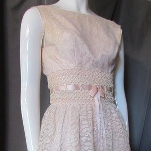 Vintage PInk White Lace Cocktail Dress Size S